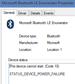 windows 10 driver error bluetooth