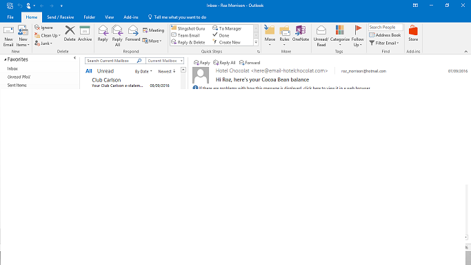 Outlook 2016 can't get to next page of emails - Microsoft