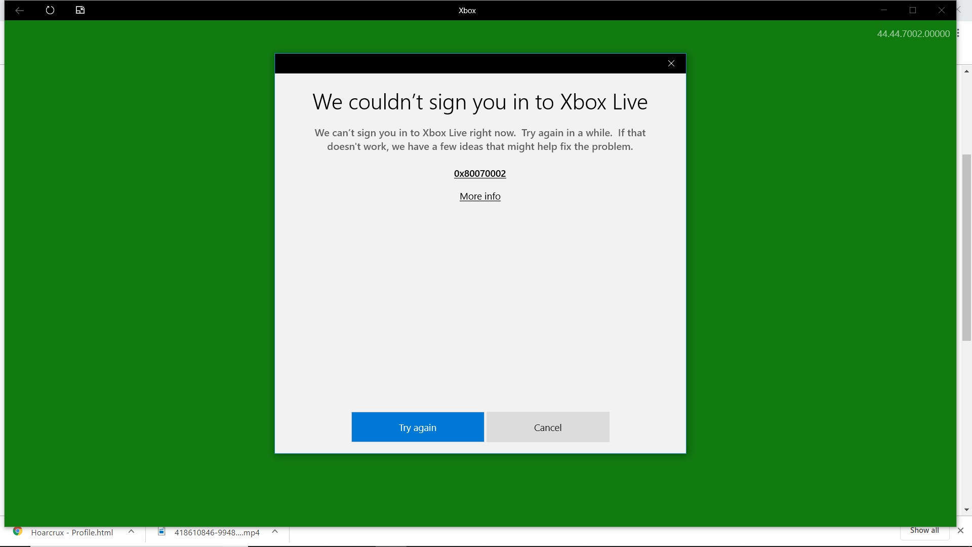 Xbox App Crash/Error Code when trying to sign in - Microsoft
