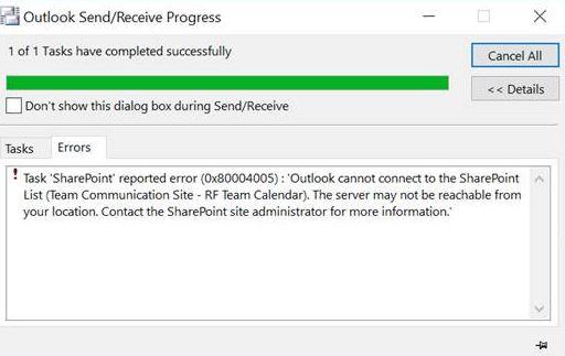Outlook sharepoint calendar not updating