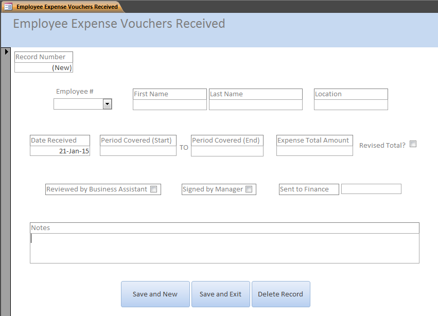 database for employee expense vouchers microsoft community