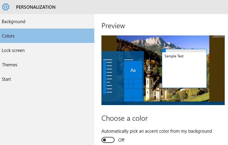 Accent color option