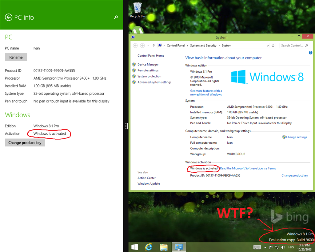 windows 8.1 pro watermark