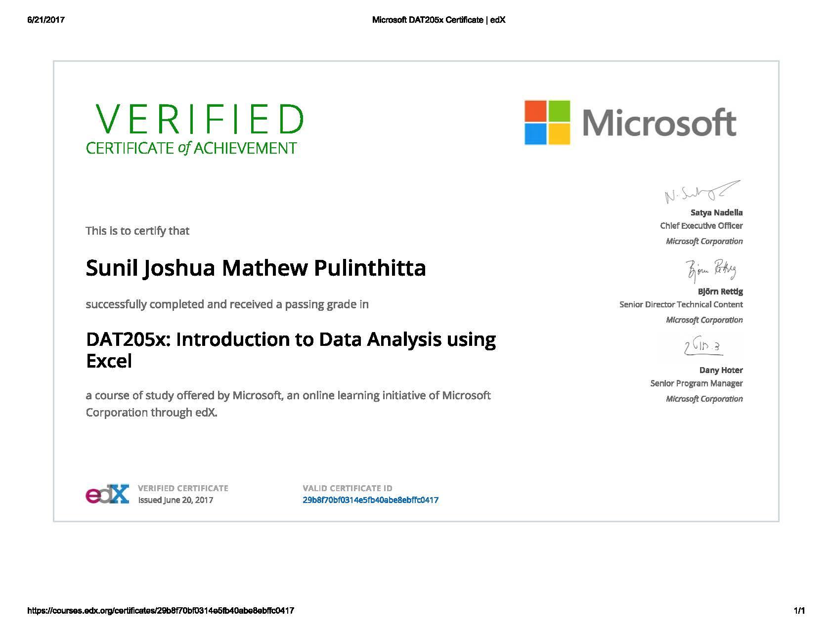 Microsoft Professional Program For Data Analysis Track Past