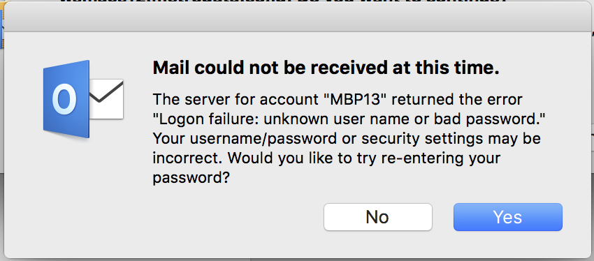 Possible cause: Your account credentials or Exchange server name are incorrect.