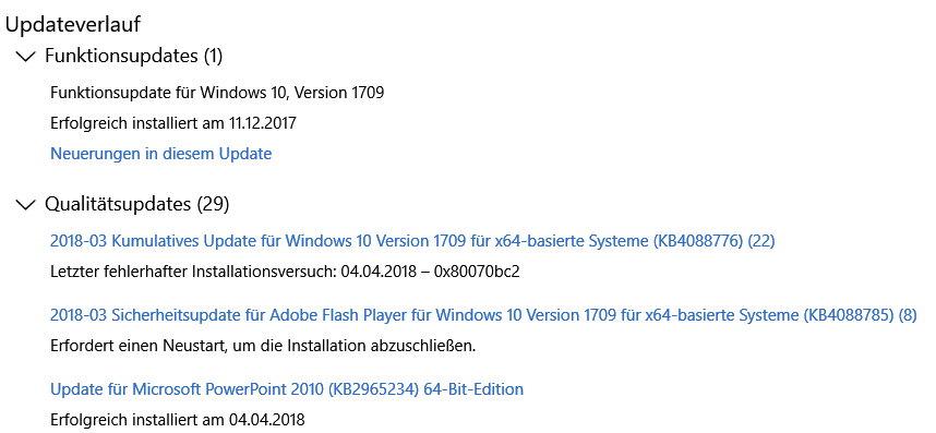 KB4088776 und KB4088785 wird nicht installiert