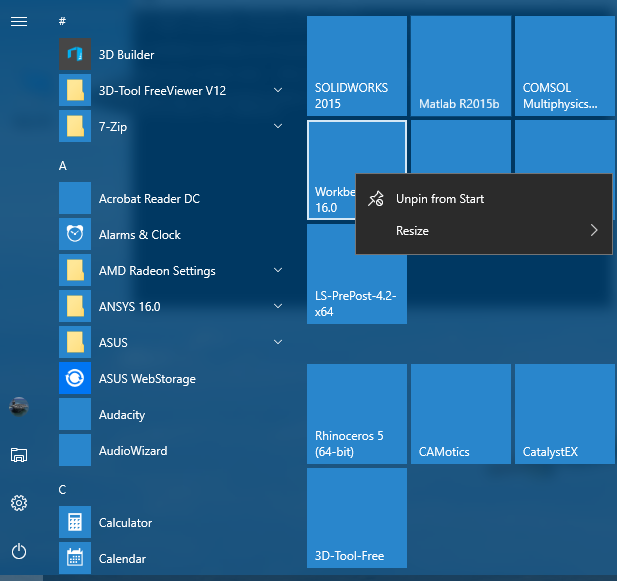 More' options on the right-click menu on the pinned apps on