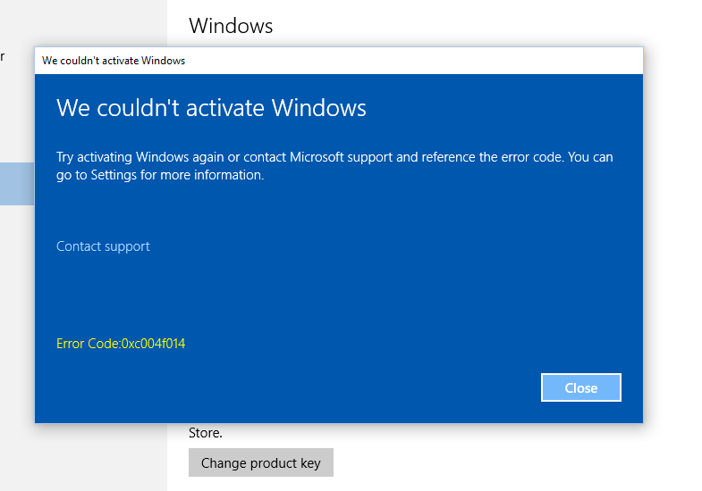 Error code 0xc004f014 and we couldnt activate windows microsoft but after entering the product key manually it is showing error image ccuart Choice Image