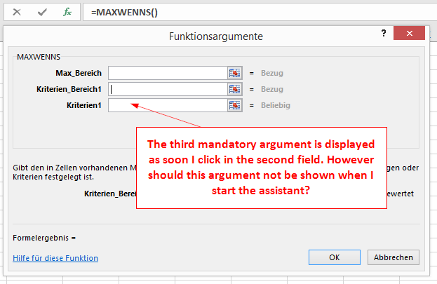 Behaviour of the excel functions assistant when showing mandatory as this behaviour imho does not correspond to the usual behaviour of the functions assistant for other excel functions where all mandatory arguments are publicscrutiny Images