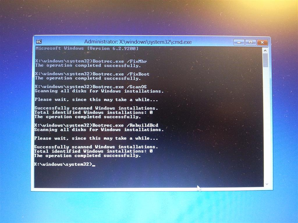 Unable to restore MBR using Bootrec.exe - Microsoft Community