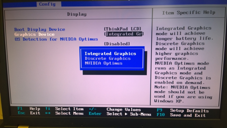 Thinkpad W530 bios settings - integrated graphics, discrete graphics