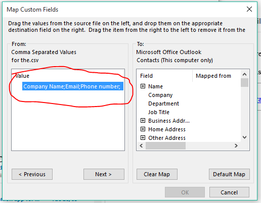 Importing Contacts from excel 2016 into Outlook 2016