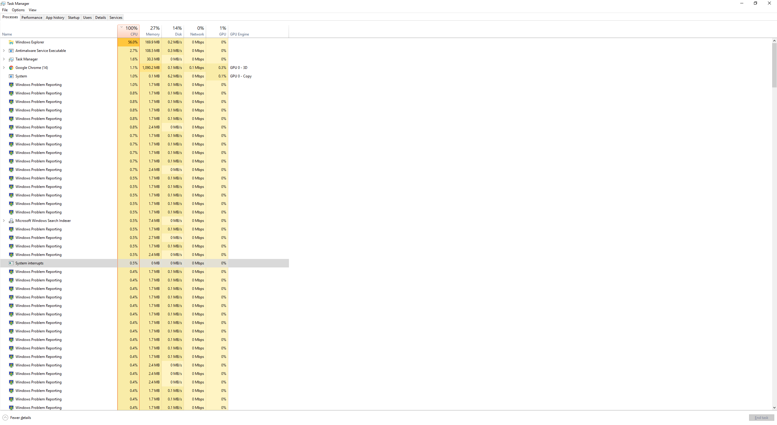 CPU usage hitting 100% everyday at the same time, slowing