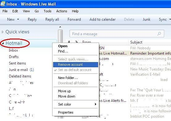 How to remove account in Windows Live Mail? - Microsoft Community