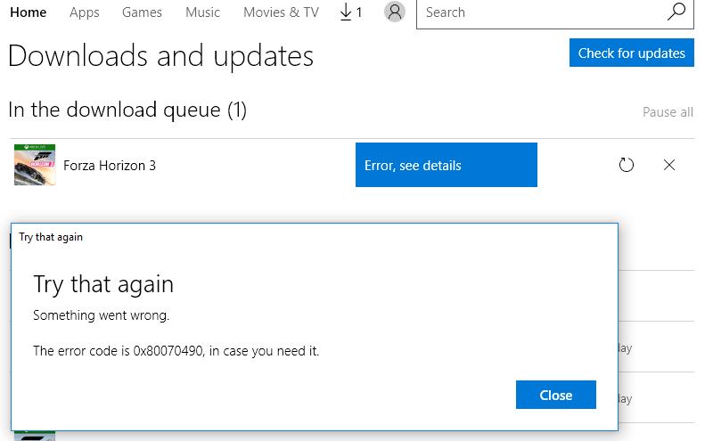 Forza Horizon 3 download error 0x80070490 - Microsoft Community