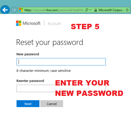 microsoft reset account password