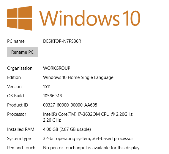 Unable to install 64 bit Windows 10 on a x64 based processor