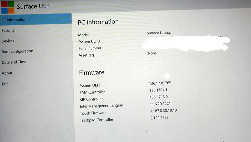 Surface Laptop don't boot, only display UEFI all the time