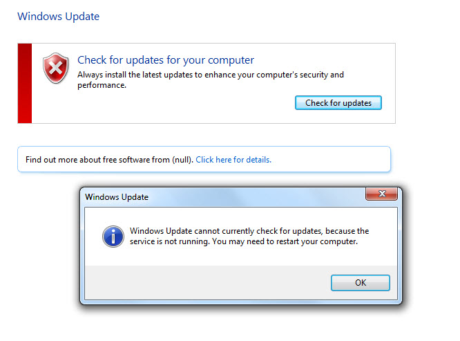 windows update service not running windows 7