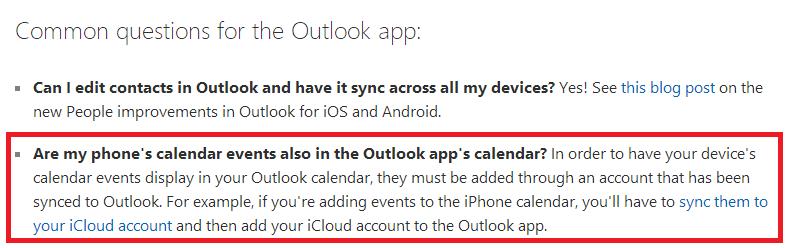 How do I sync iphone calendar with Outlook app? - Microsoft