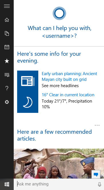 "Www Bing Commail At Abc Microsoft Com: Cortana On Windows Insider Preview Says "" """