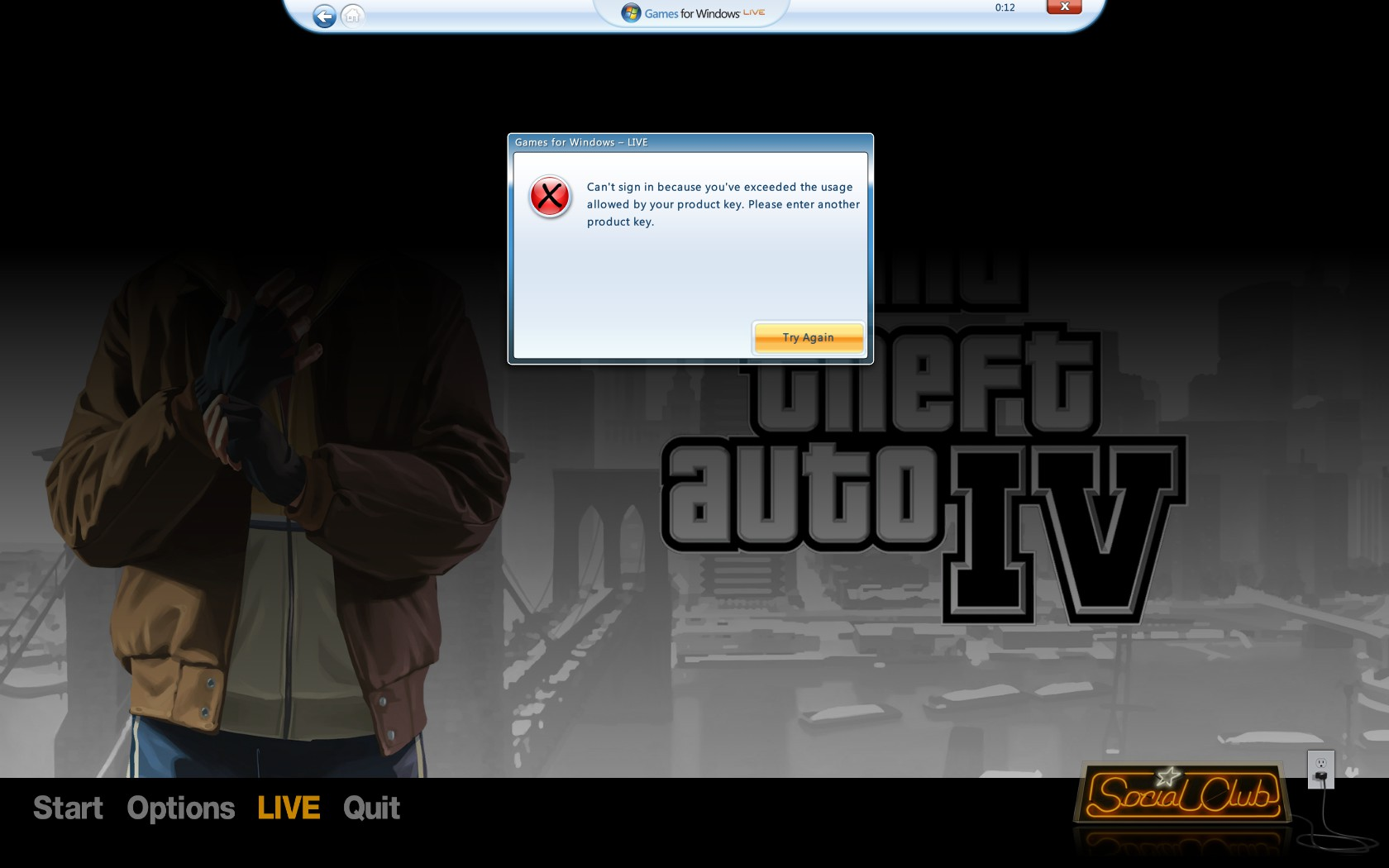 Activation issues Grand Theft Auto IV in games for windows