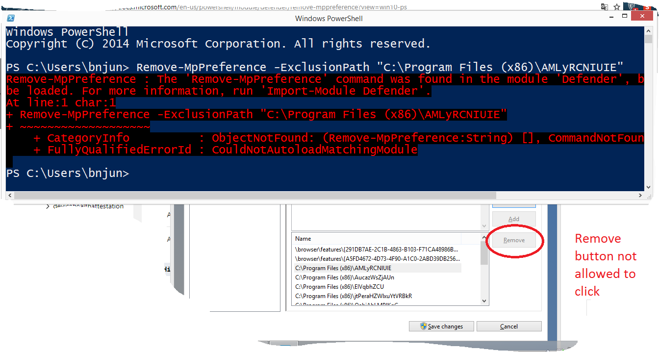 Unable to remove exclusions files and location (Either in Safe