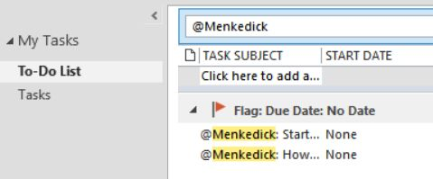 Microsoft Outlook 2013 - To-do List - Search does not look