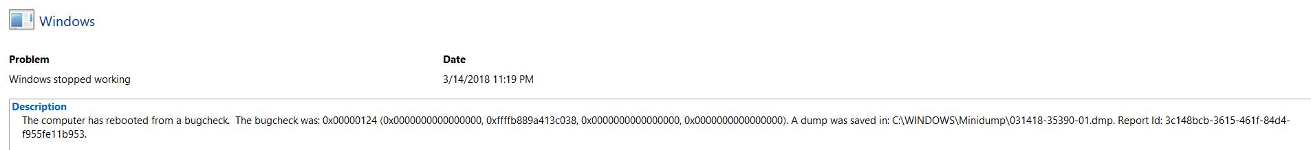 Windows 10 0x124 bugcheck error 0x124_AuthenticAMD_PROCESSOR_BUS_PRV