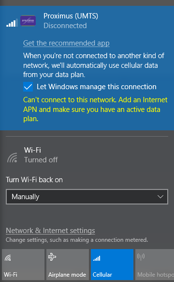 cant connect to this network windows 10 enter an apn and try again