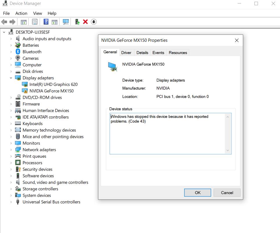 Nvidia MX150 Driver Update Fail / Crashed Windows 10 / Error