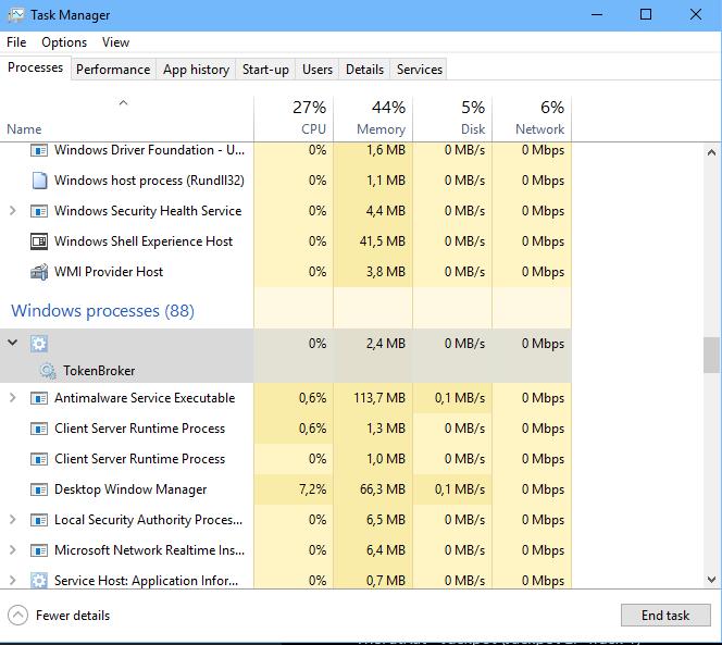 Token Broker in Task Manager under blank task - Microsoft Community