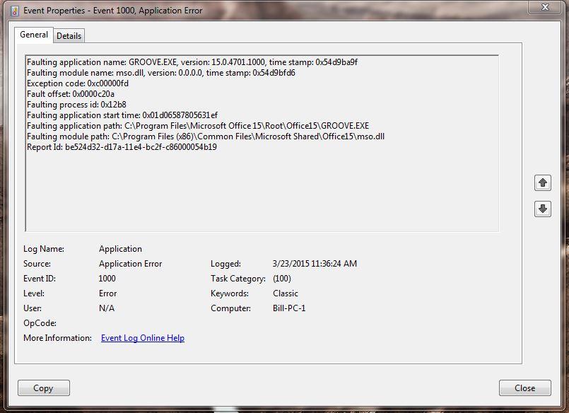Groove exe crash/error - Microsoft Community