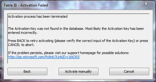 Steam version of Fable 3 - The Activation Key was not found in the