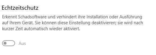 Windows 10 Defender Echtzeitschutz lässt sich nicht aktivieren