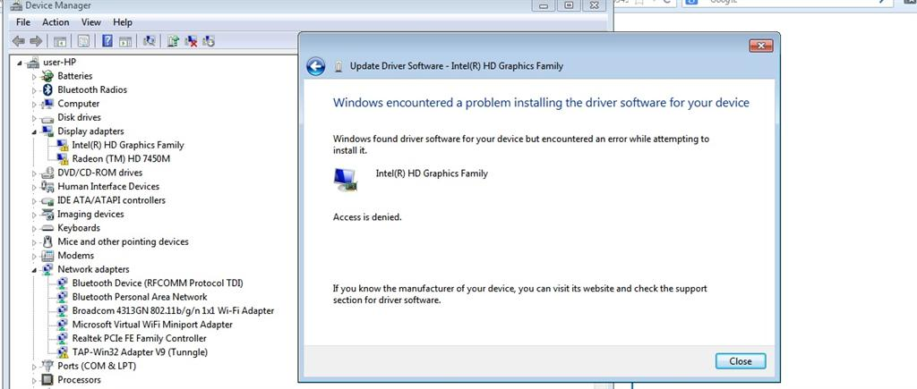 windows encountered a problem installing the driver software