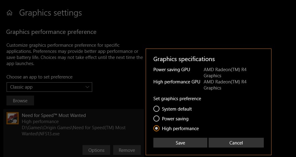 Discrete GPU is not listed in Graphics settings, Dedicated memory is