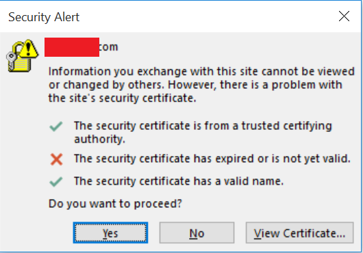 Outlook Clients With 365 The Security Certificate Has