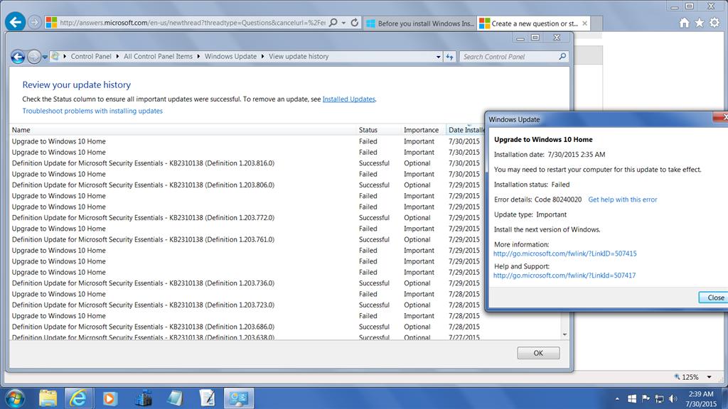 windows 7 updates history
