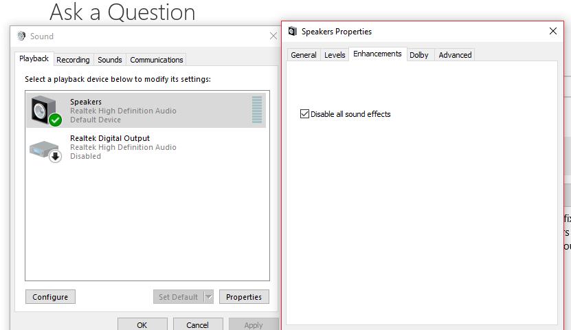 Unable to Access Audio Enhancements - Microsoft Community