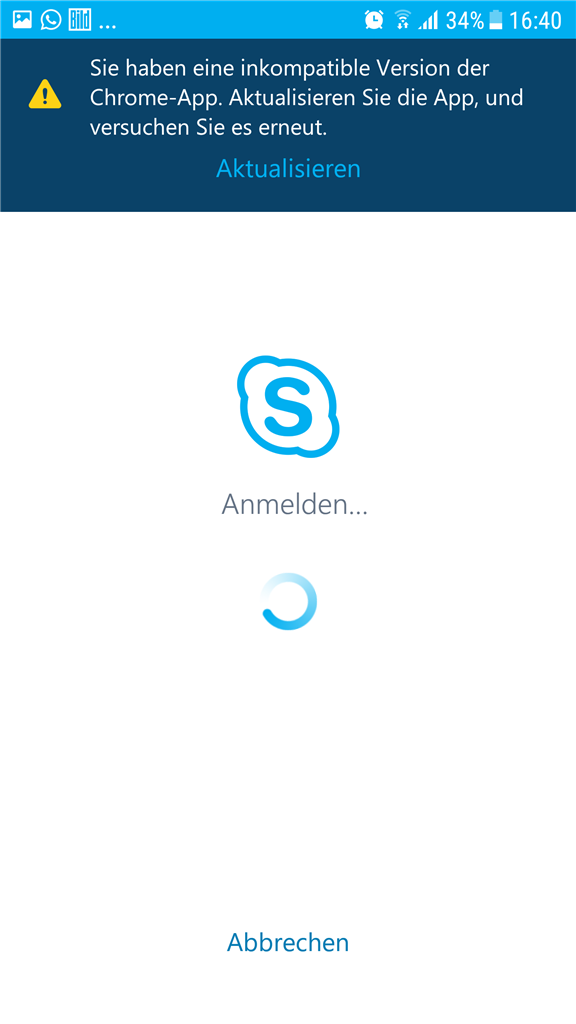 skype for business android not working (incompatible chrome