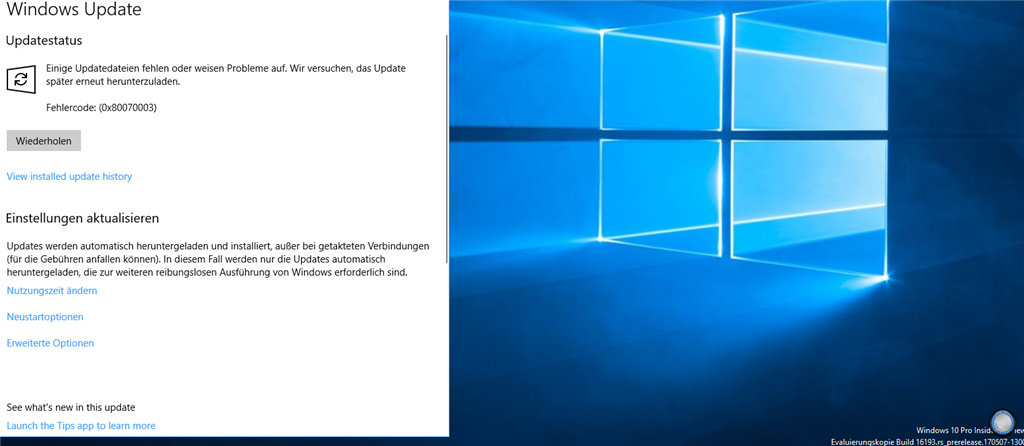 Update bugs nach Windows 10 preview Build 16188