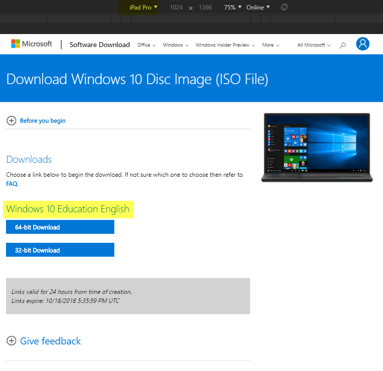 microsoft download center windows 10 iso 64 bit