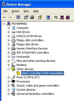 VGA is missed on Windows XP professional SP1 on a Desktop
