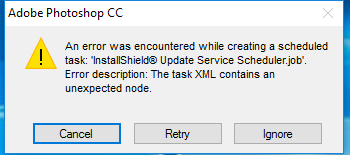 an error encountered while creating a scheduled task microsoft