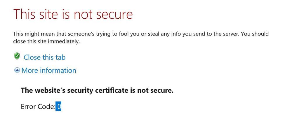 The Websites Security Certificate Is Not Secure Error Code 0