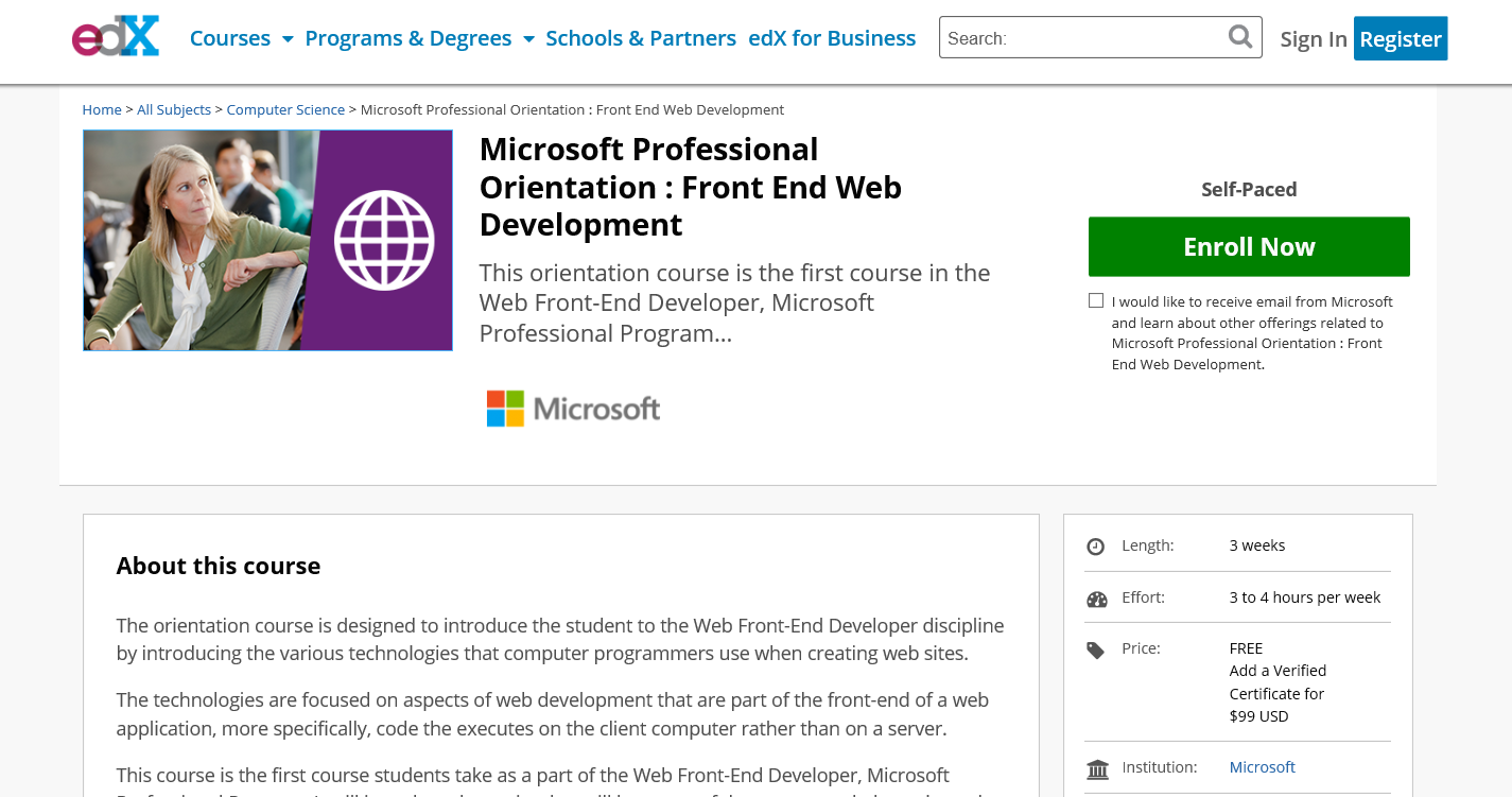 Microsoft Professional Front End Development Certification