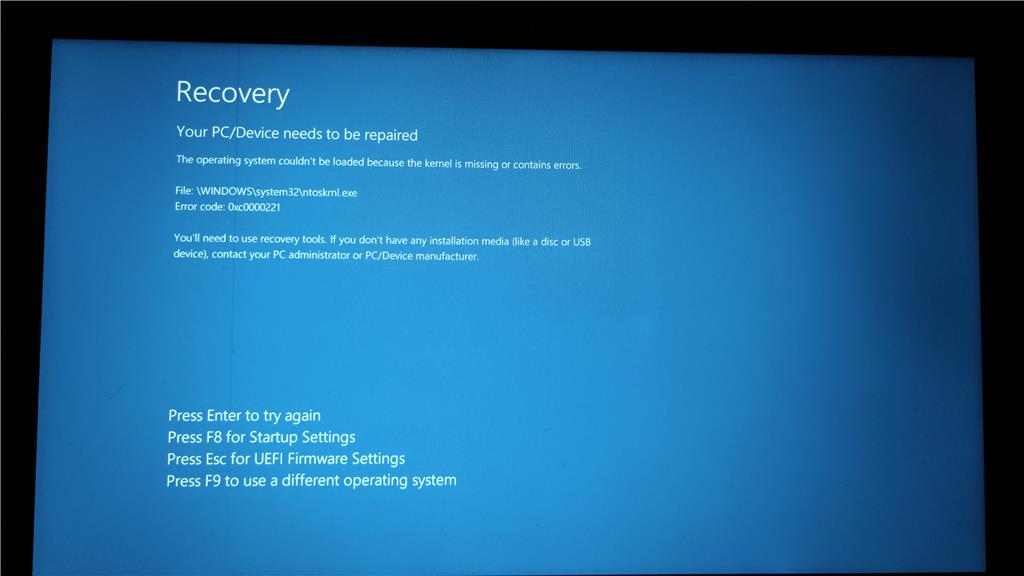 ntoskrnl.exe windows 10 bug