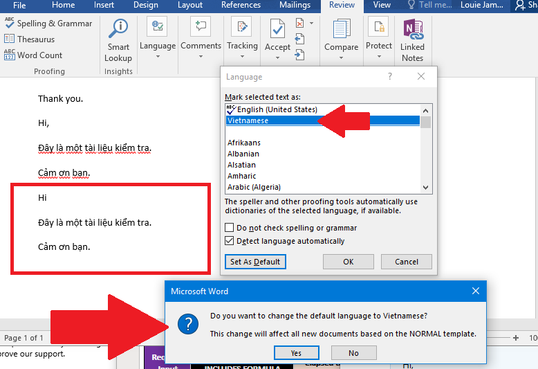 Office 365 doesn't check spelling in two proofing languages