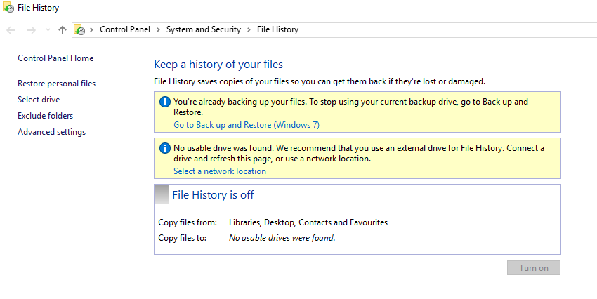 Windows 10 Pro - Can't backup or use File History